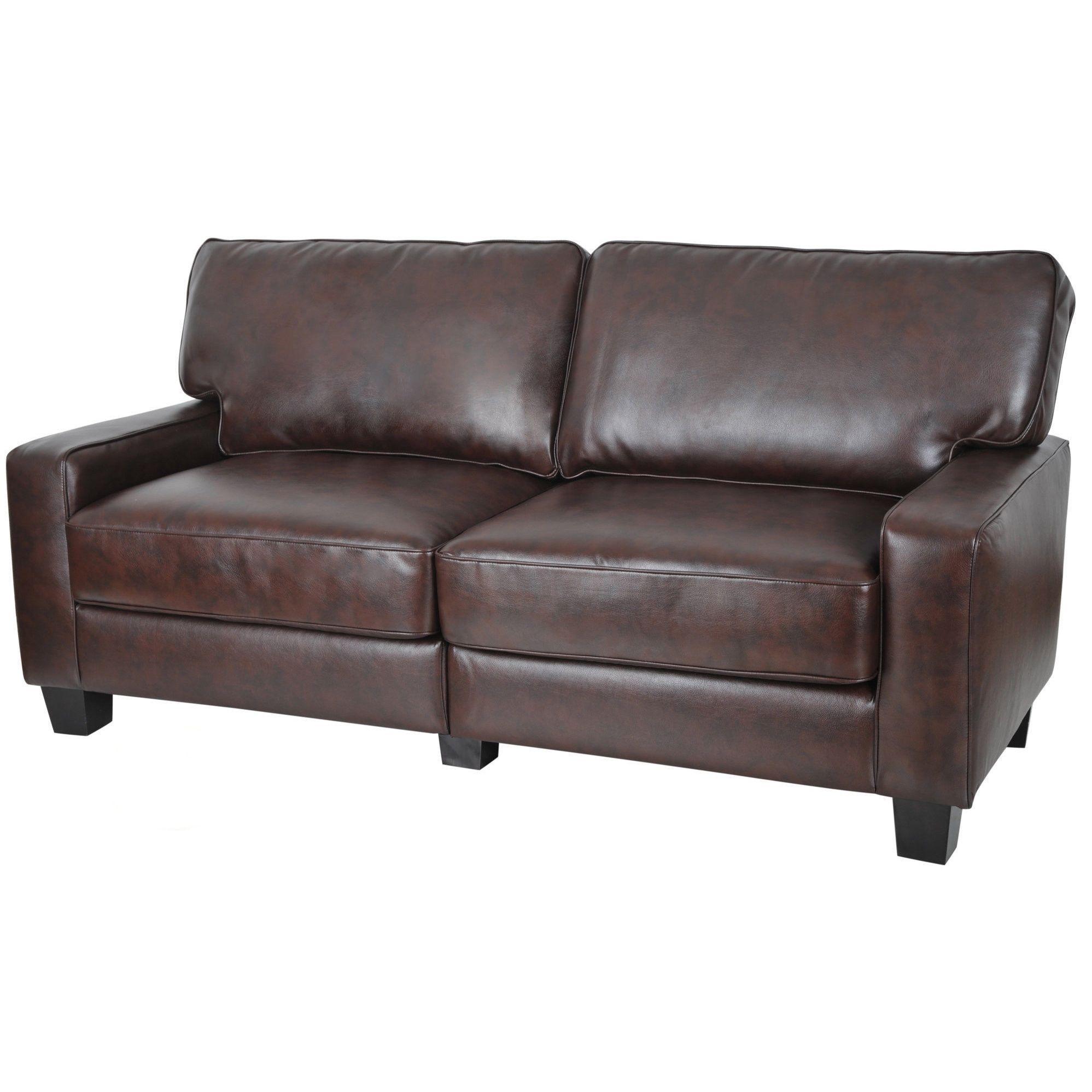 Serta Rta Monaco Collection 72 Inch Brown Leather Sofa Serta Monaco