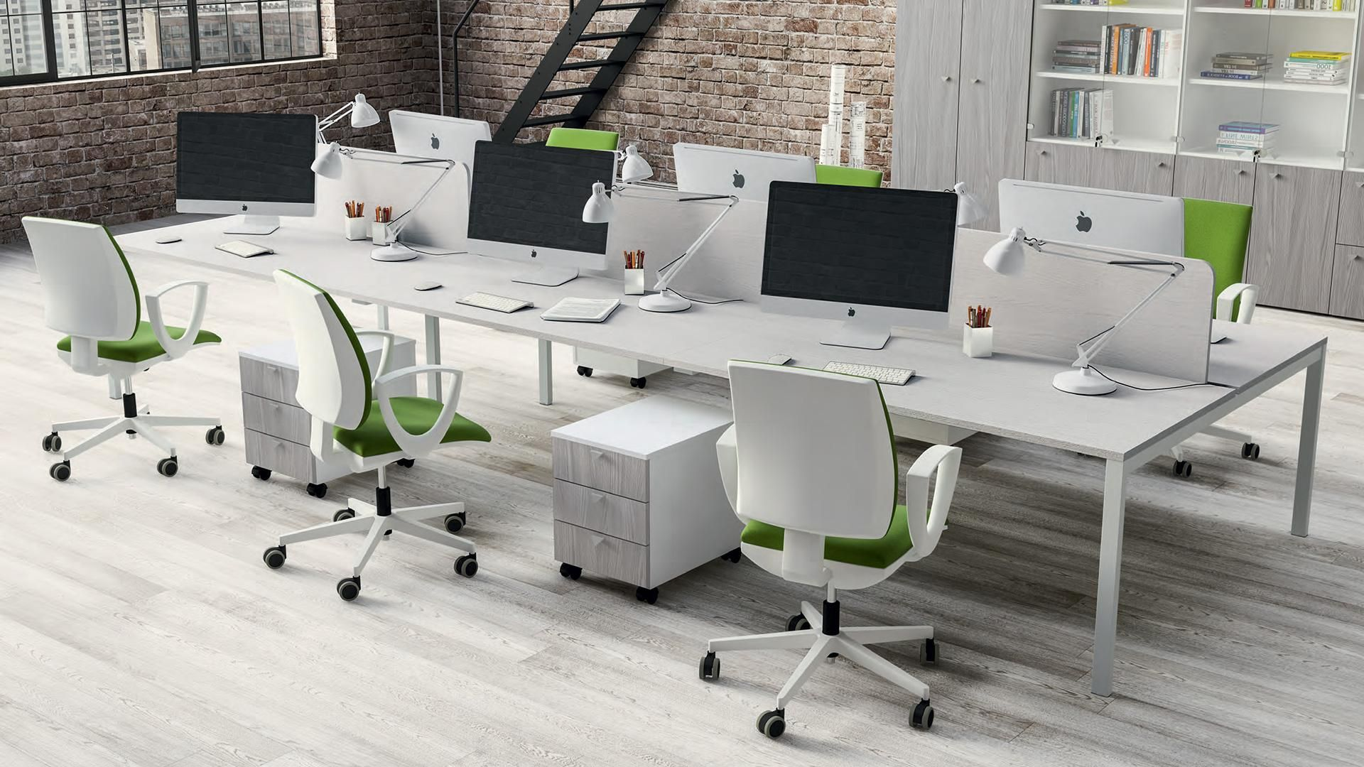Awsome Office Furniture Design With White Long Office Desk Plus