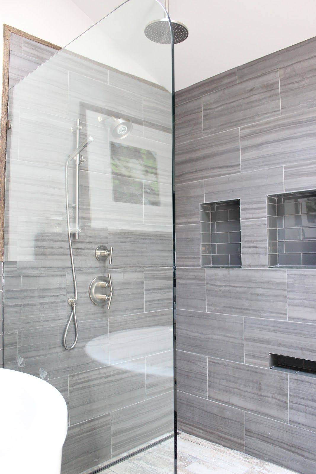 Before And After Large Tile Bathroom Gray Shower Tile Small