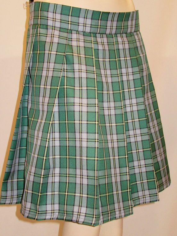 9c57f3cd82 Cape Breton Gray Green Yellow Tartan Plaid Pleated Skirt~Small~Plus size  Skirts~Highland Games~Custom make St. Patrick Day skirt@sohoskirts