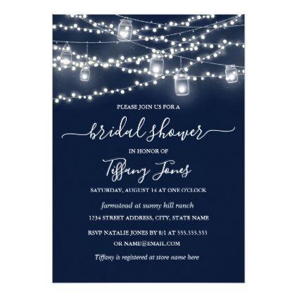 Rustic Lights Navy Bridal Shower Invitation | Zazzle.com