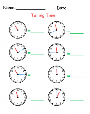 Learning To Tell Time Worksheets Kindergarten