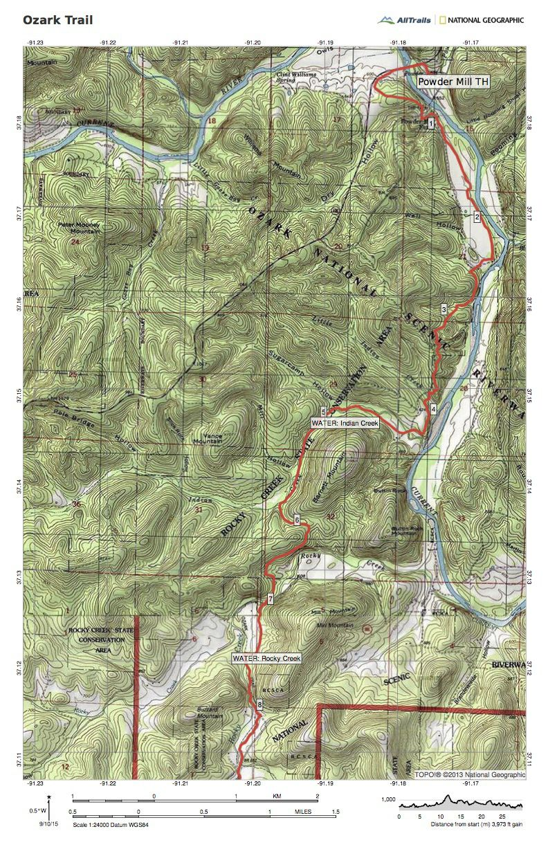 Maps for the Current River Section of the Ozark Trail | Trip ...