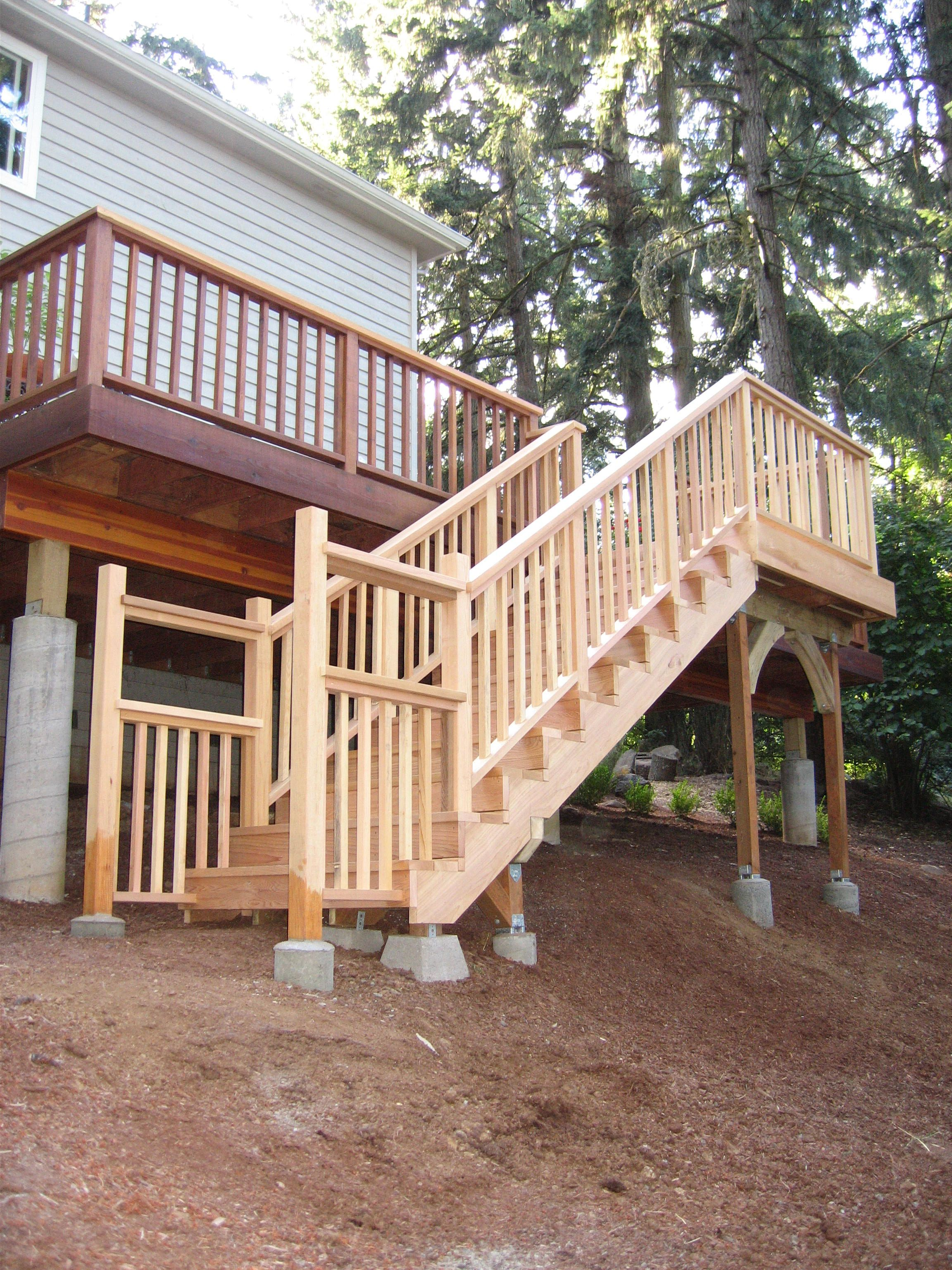 Custom staircase. What a great addition to access a split ... on Split Level Backyard Ideas id=18080