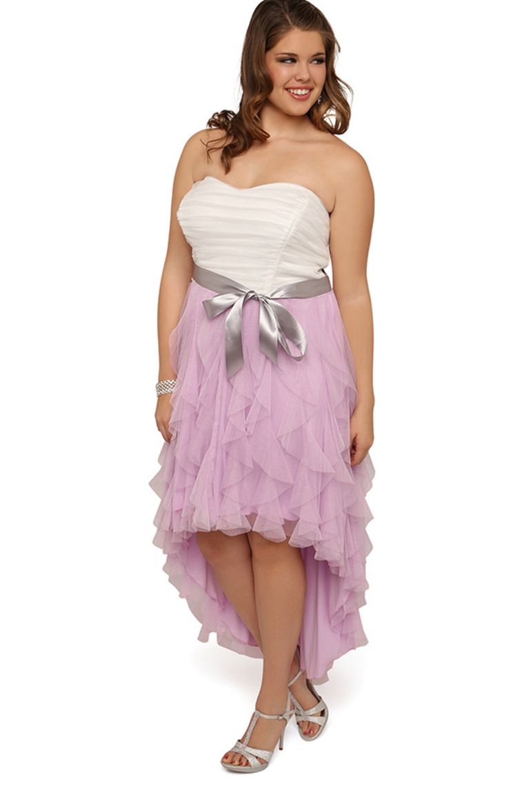 Plus Size Prom Dress With Two Tone Detail And High Low Tendril Skirt ...