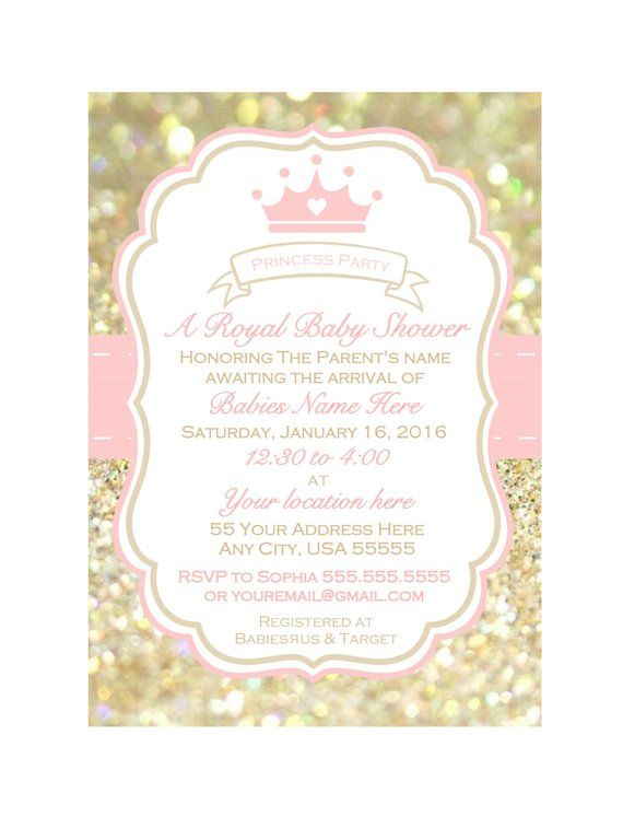 Printable Girl Baby Shower Invitation Invite Pink And Gold Pri