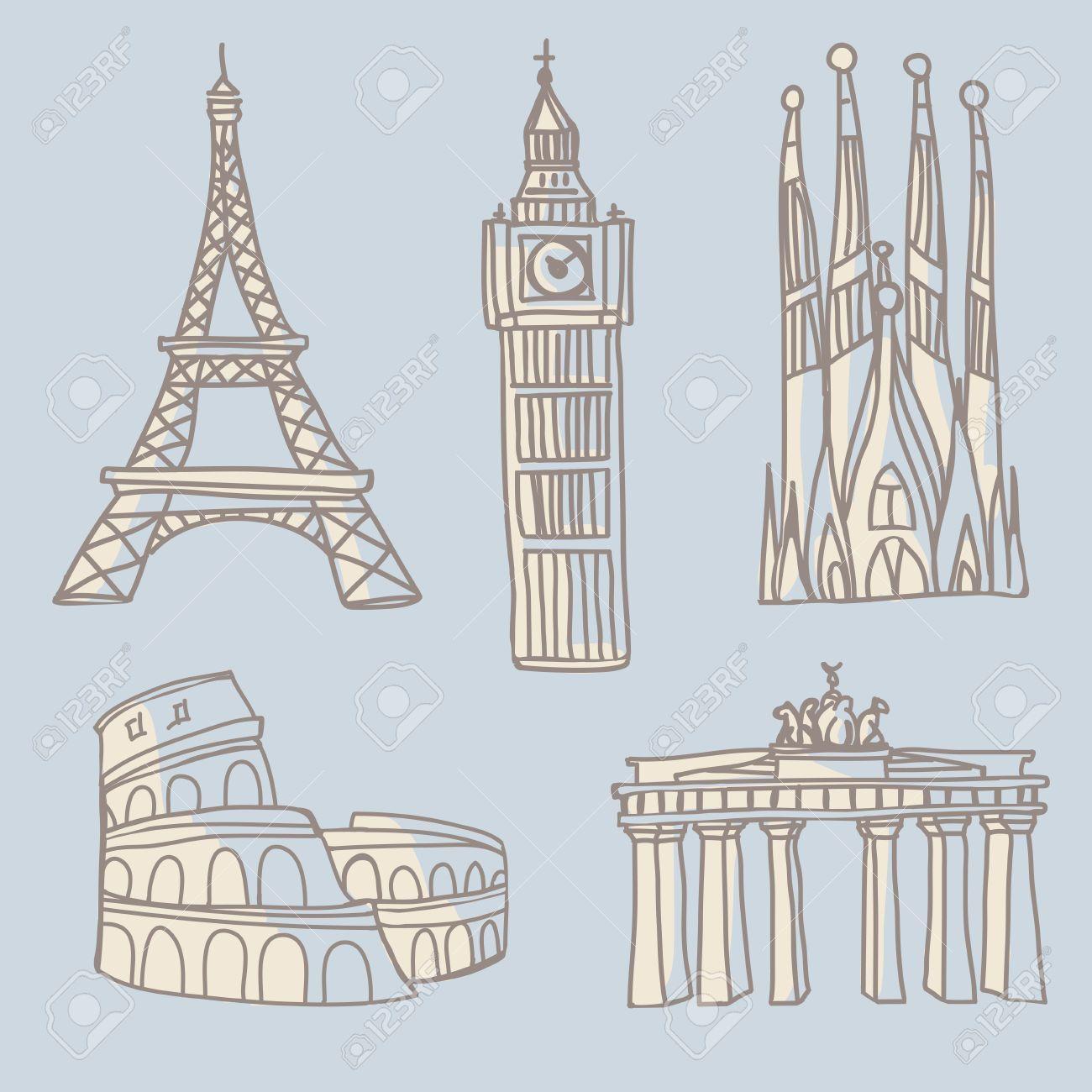 Resultado De Imagen Para Brandenburger Tor Bild Zum Zeichnen Free Vector Art Architecture Landmark Doodle Drawings