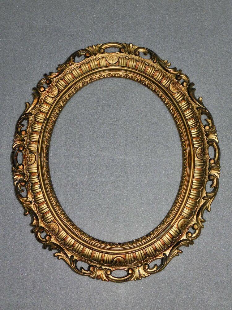 grand cadre ovale resine doree sculptee