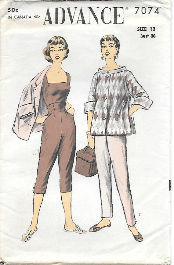 1950s Playsuit and Coat Advance 7074 Sewing Pattern Unused Size 12 ...