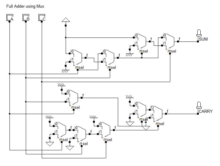 Full Adder Using Multiplexers Electronics Circuit Circuit Design Circuit