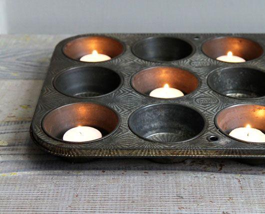 vintage muffin tin + votives