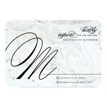 Modern marble wedding reply card black stopboris Choice Image