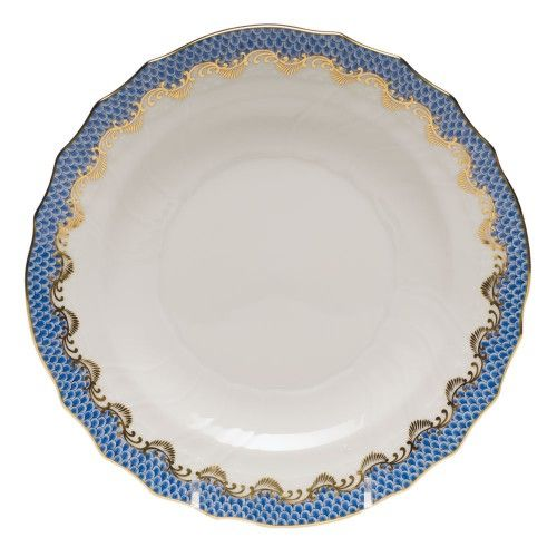 "Herend 7.5"" Fish Scale Salad Plate. Plus 9"" Golden Laurel Dessert Plate. 10.5 Golden Edge dinner plate."