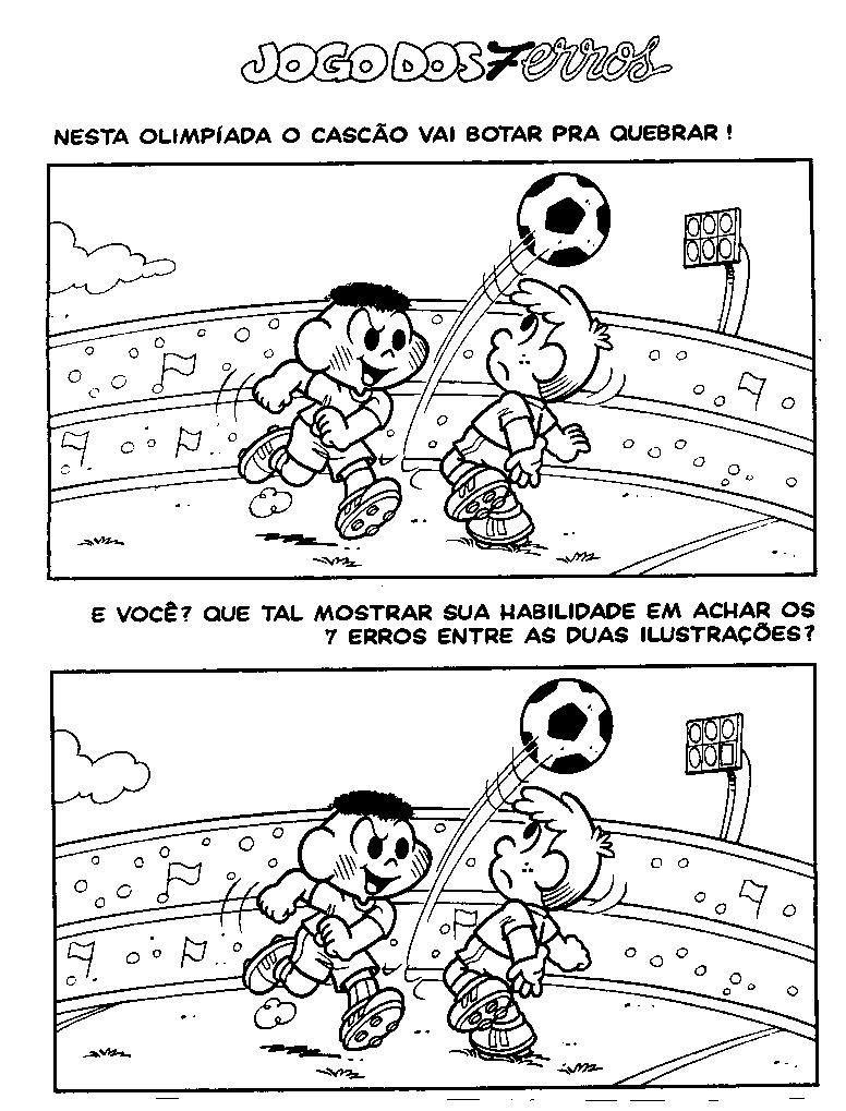 Jogo Dos Sete Erros Cascao Jogando Futebol Jogo De Sete Erros