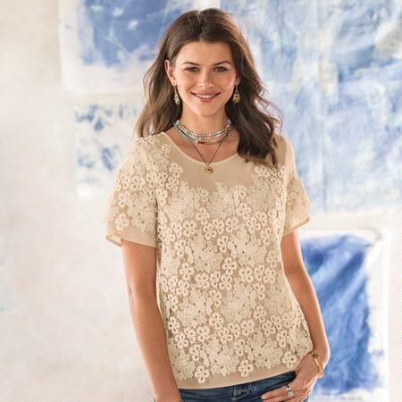 LOVE IN A MIST BLOUSE - Our romantic silpover blouse is adrift with embroidered lace flowers on a double layered body that's so easy to wear.