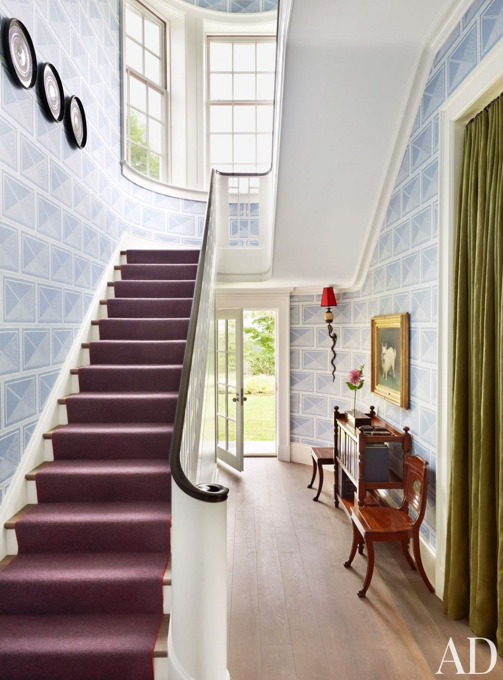 The stair hall\'s sgraffito-inspired wall covering is a Katie Ridder ...