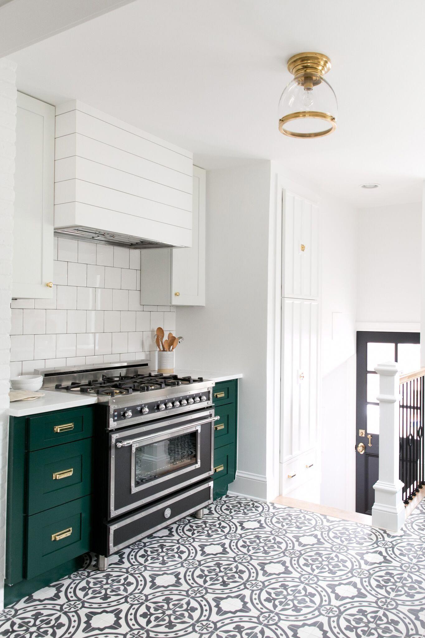 Patterned Tiled Floors and Green Denver Tudor