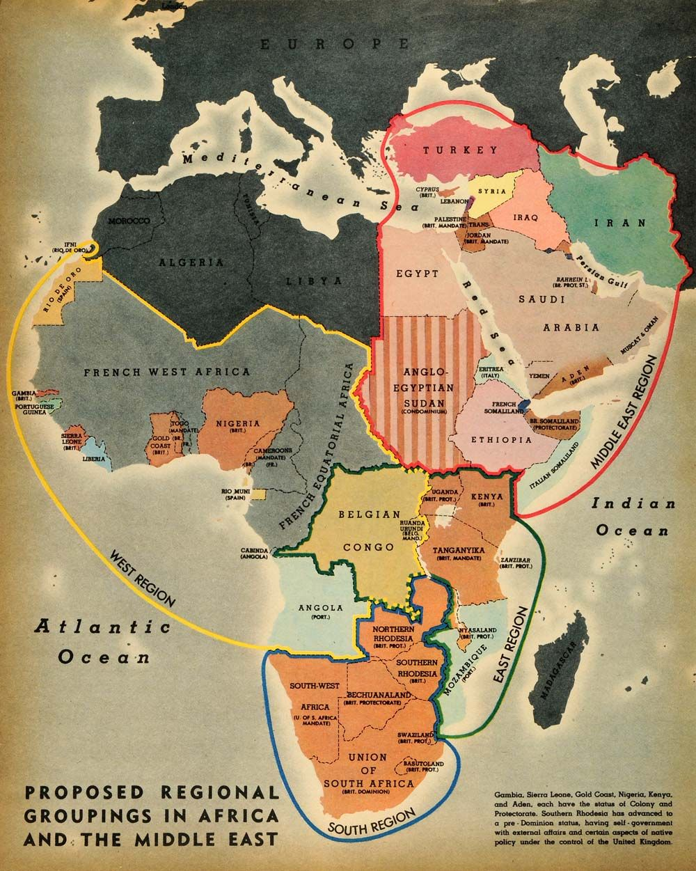 1944 Print Map Africa Groupings Indian Ocean
