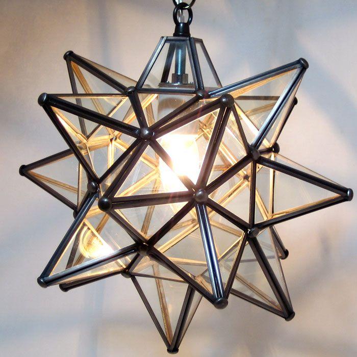 Moravian Star Pendant Light Clear Glass Bronze Frame 12 Star