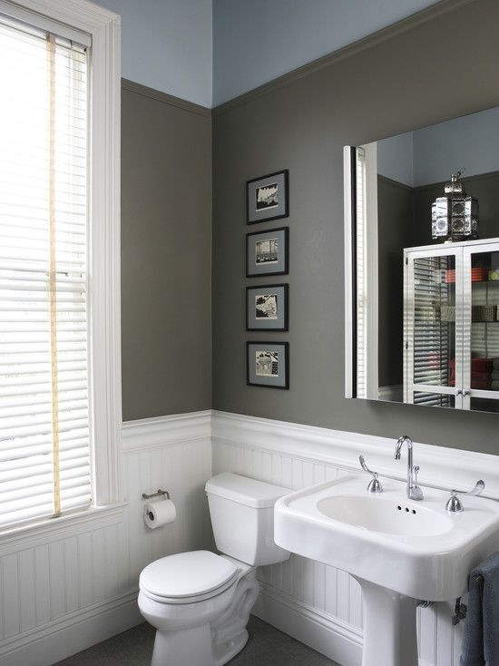 i like the white panel and accent wall thing that is going on - Recessed Panel Bathroom Decoration
