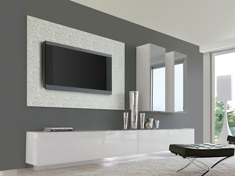 Unico Contemporary Wall Storage System With Cabinets And Sideboard - White gloss wall units living room