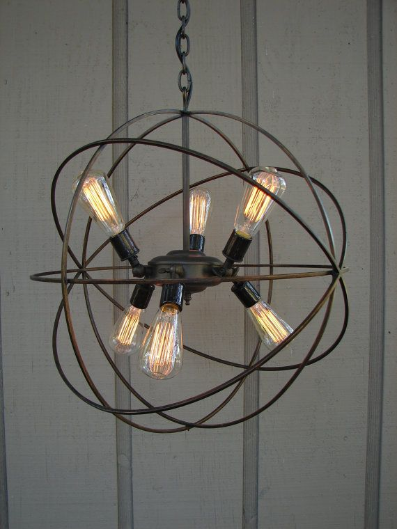 Light fixture made from pulley upcycled orbital chandelier with upcycled orbital chandelier with filament edison bulbs aloadofball Gallery