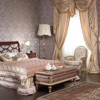 Classic bed 700 italiano style walnut finish Walnut night tables