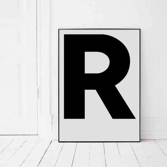 Large Letter R Print Letters Wall Art Black By Angelinasartshop