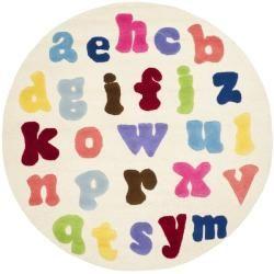 Safavieh Handmade Children S Alphabet Ivory N Z Wool Rug 6 Round   At Ov