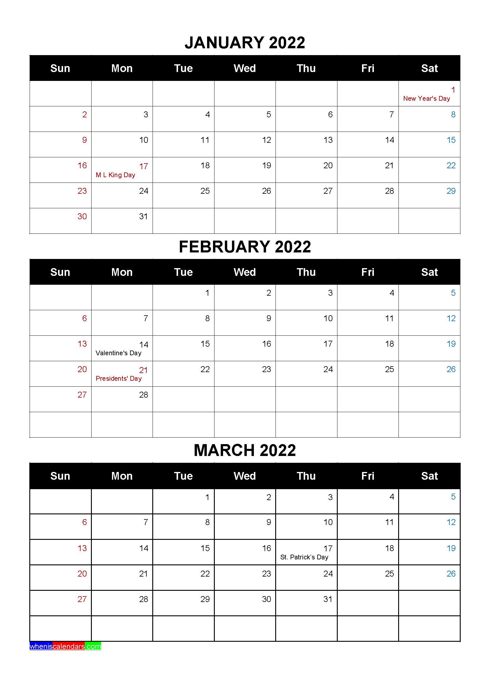 Free Calendar January February March 2022 With Holidays Four Quarters In 2020 January February March Free Calendar Calendar Printables