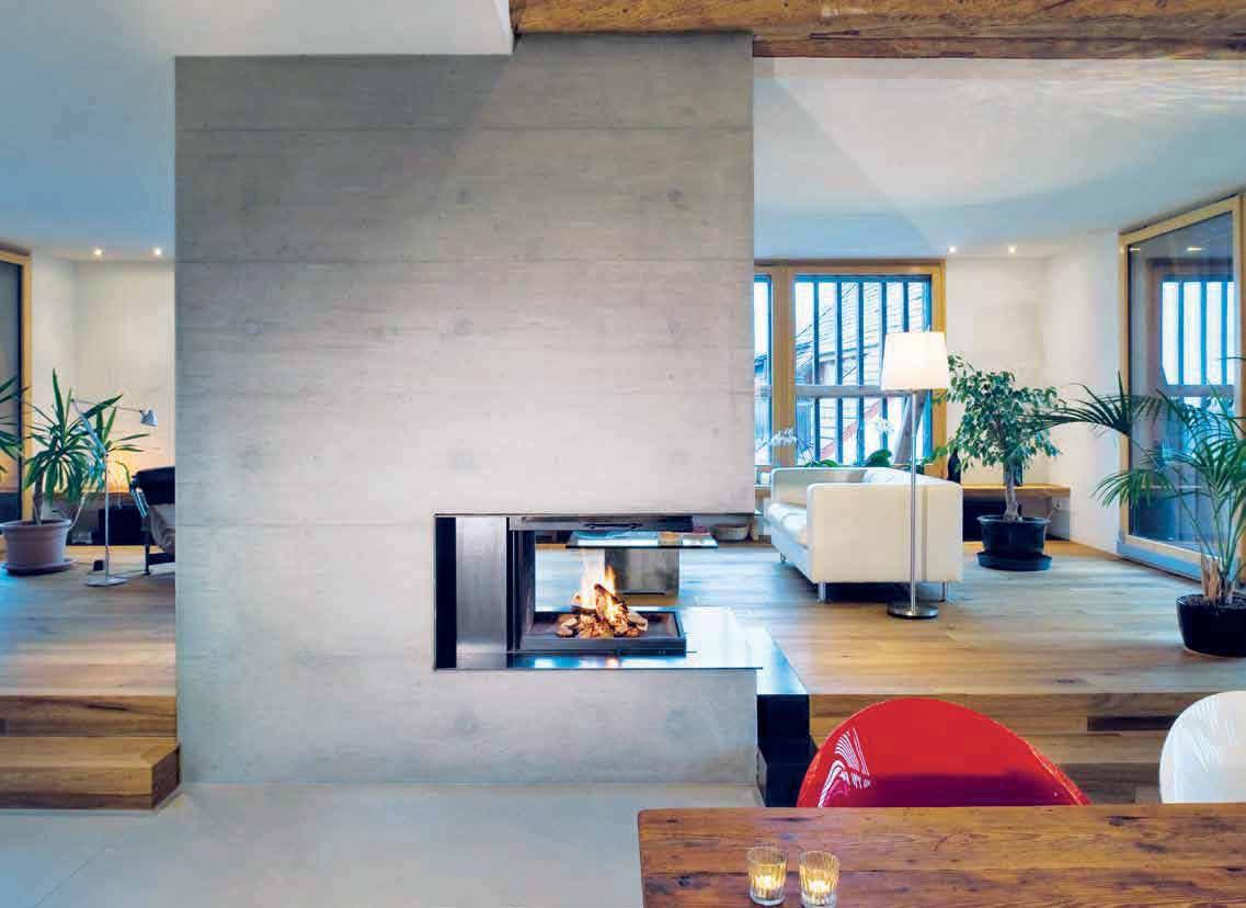 Ruegg Kamin wood fireplace contemporary open hearth 3 sided pi