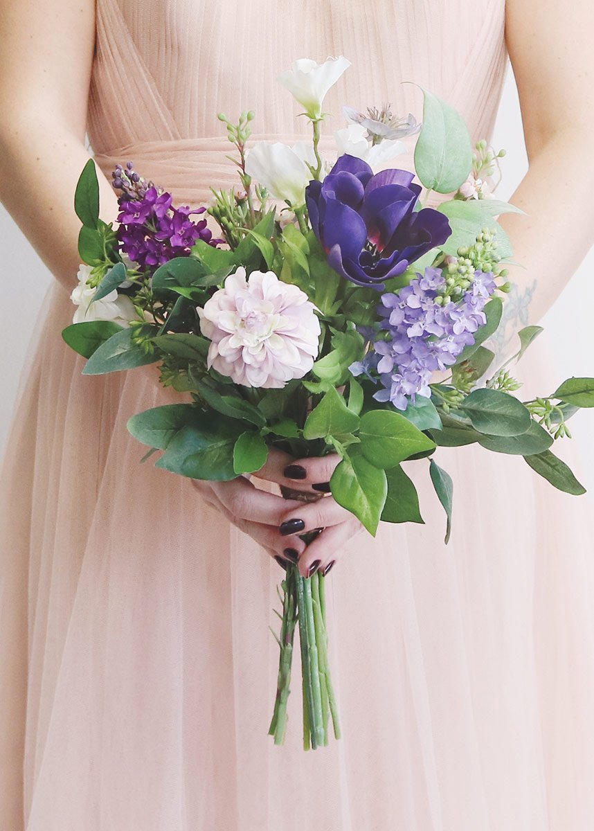 Anemone And Dahlia Artificial Flower Bouquet In Purple 16 Tall Flower Bouquet Wedding Spring Wedding Flowers Artificial Bridal Bouquets