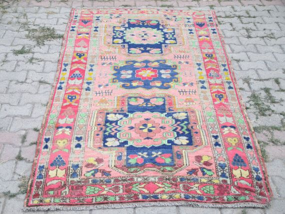 Turkish Rug Nursery Saloon Office Home Oushak Handwoven Organic 75x 35 Inches
