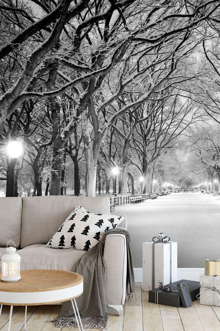 Seasonal Decorating With Winter Wallpaper Wallsauce Uk Black And White Decor Winter Wallpaper White Decor