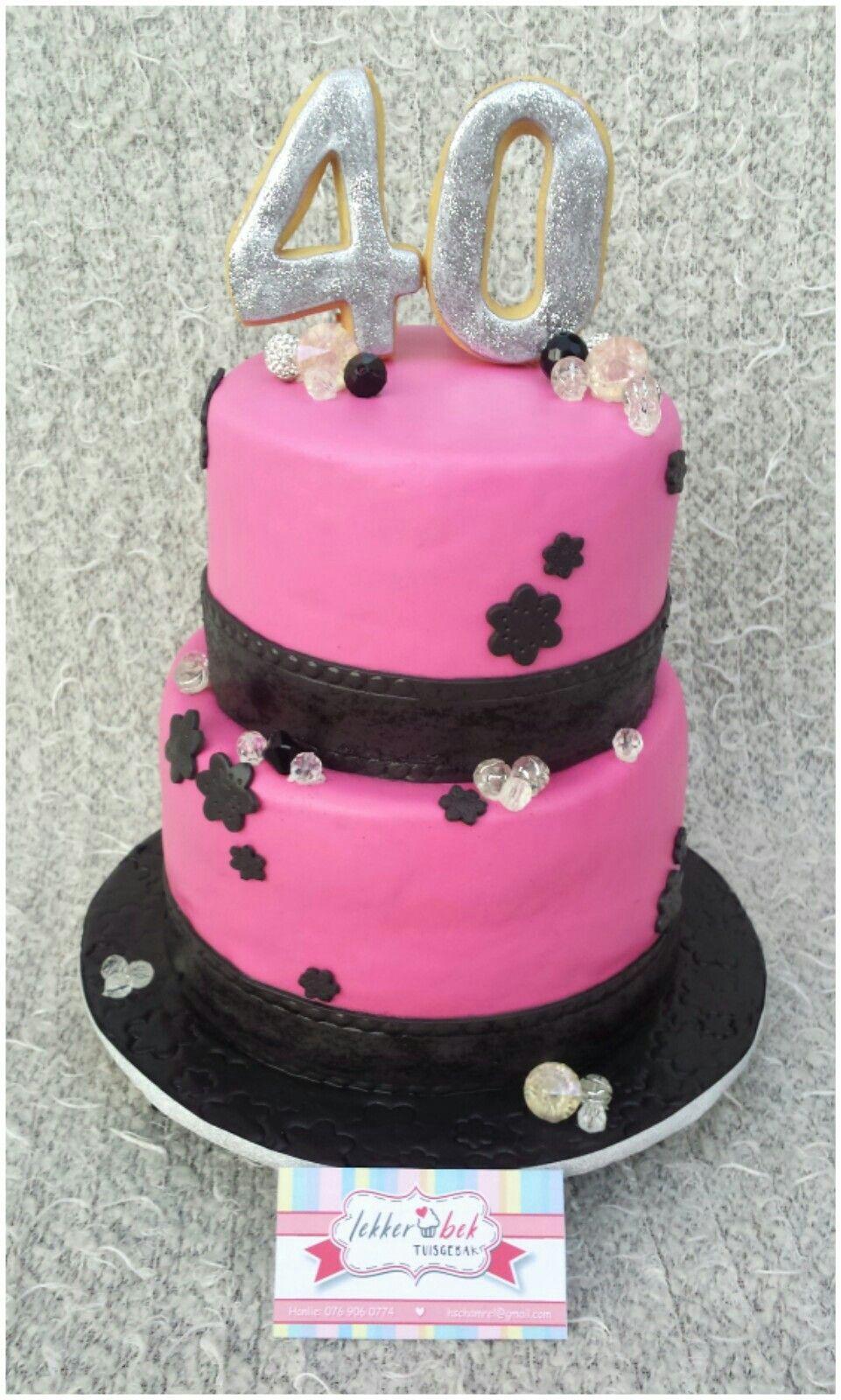 4th Birthday Cake Hot Pink And Black 2tier Lekkerbek Pinterest
