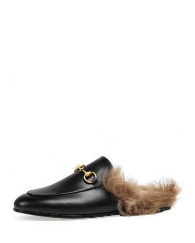 48c0124e0 GUCCI Princetown Fur-Lined Mule, Black. #gucci #shoes #sandals ...