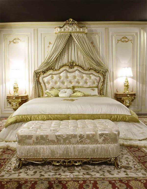 Barok slaapkamer: 8 keer prachtige inspiratie | Bed crown and Venetian