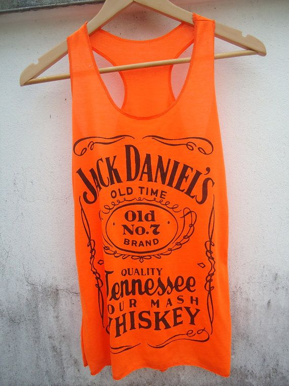 141080580c Jack Daniels Old Time No. 7 Whisky Women Vest Tank top - Neon orange color  via Etsy