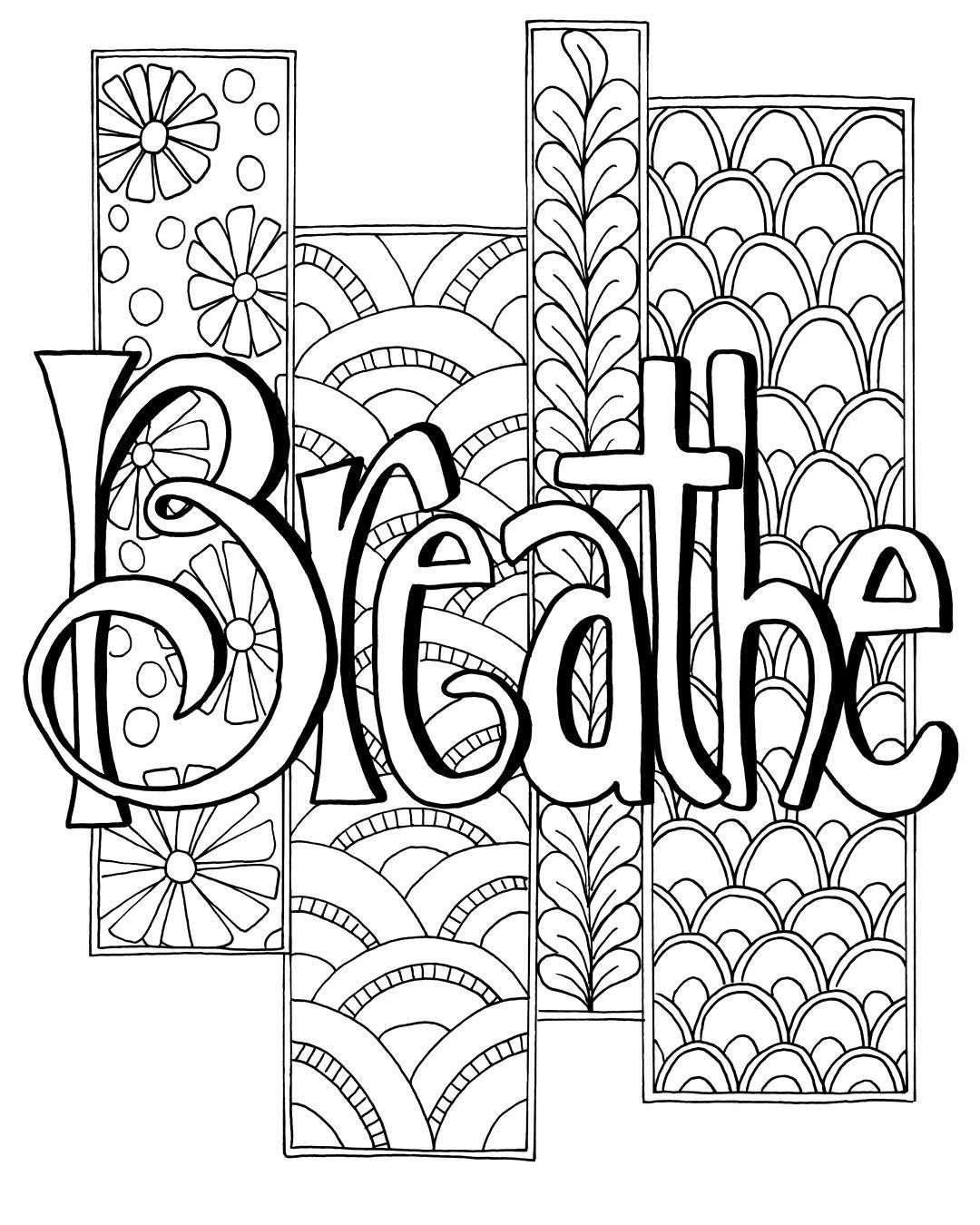 Breathe Coloring Page Words Judyclement With Images Coloring