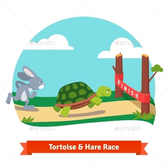 The Tortoise And The Hare Racing Together To Win With Images