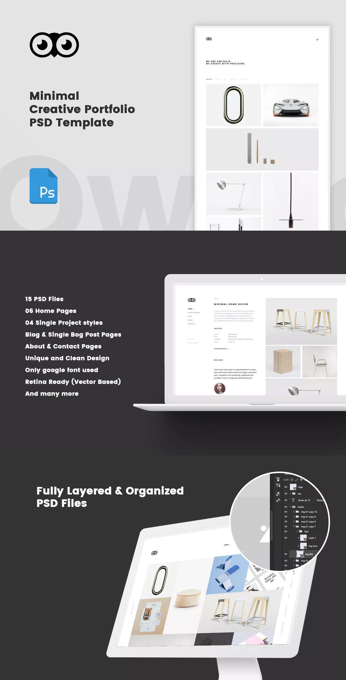 Owlfolio - Creative Portfolio Template PSD | Website Design ...
