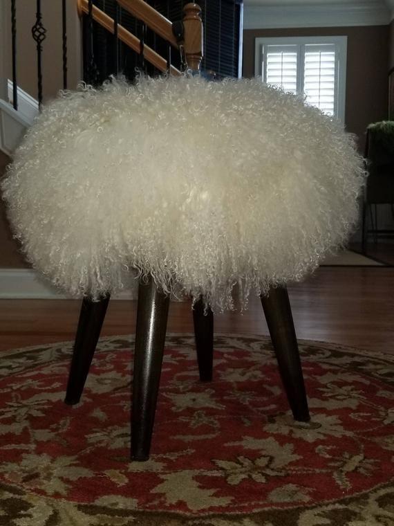 Incredible Mongolian Fur Sheepskin Stool Ottoman Fur Stool Alphanode Cool Chair Designs And Ideas Alphanodeonline
