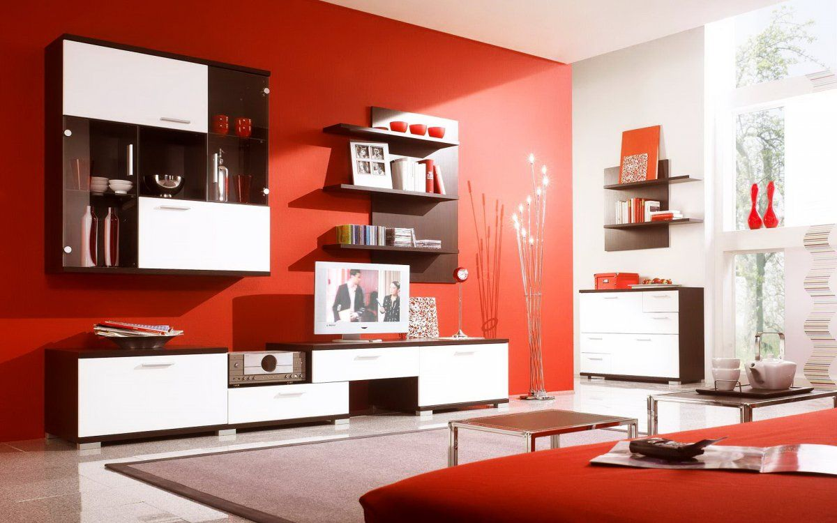 Vibrant Red Modern Living Room Interior With White Brown Wall Units Furniture