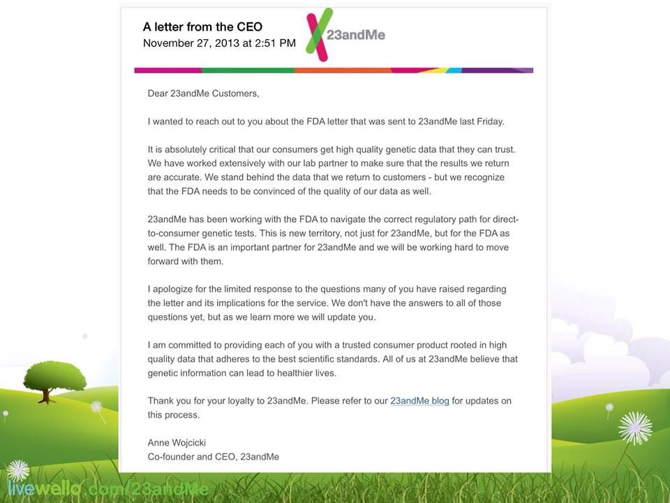 A Letter From The Ceo Of Andme For The Latest News On This