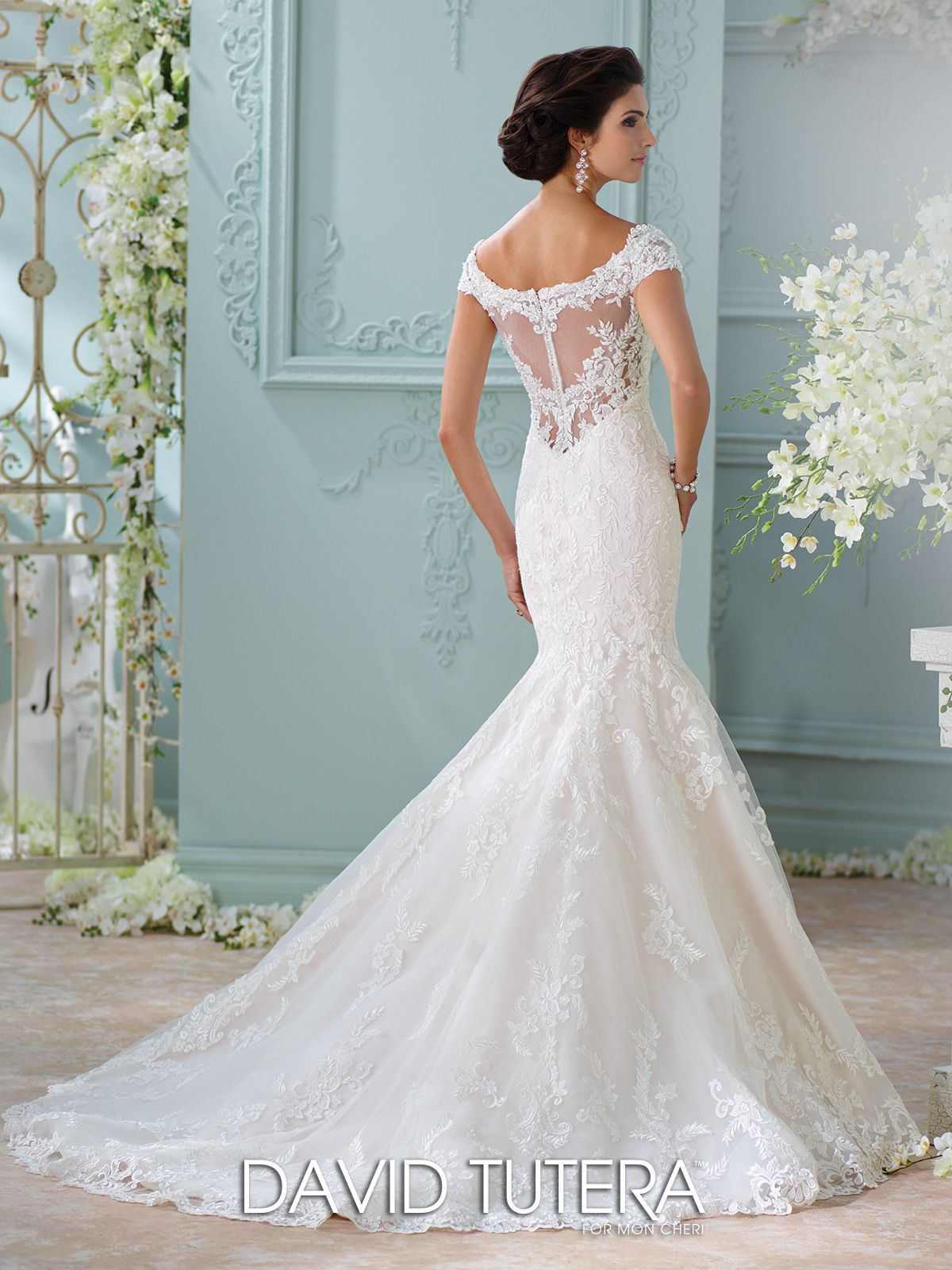 Off The Shoulder Embroidered Lace Wedding Dress 116201 Aura
