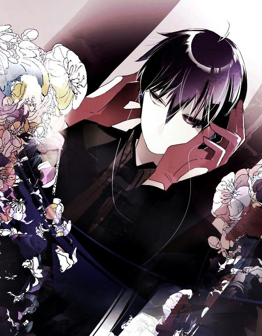 Mysterious anime guy with blue black hair