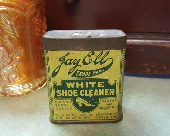 ANTIQUE Rare Tin Can JAY ELL White Shoe by AmazingFunVintage