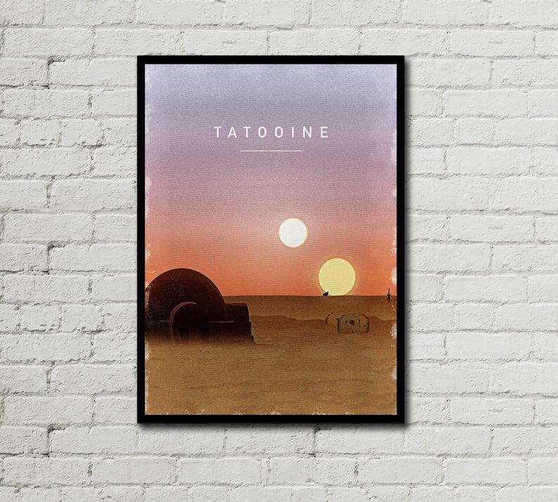 Tatooine Poster Tatooine Digital Tatooine Poster Star Etsy Star Wars Prints Star Wars Poster Minimalist Poster
