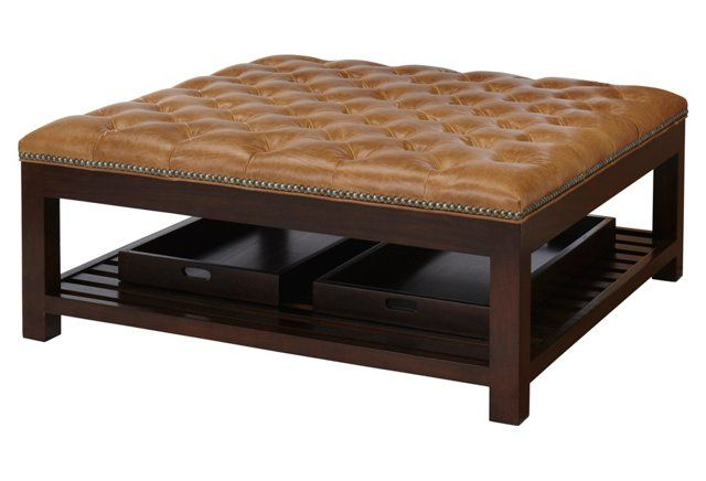 Rand Cocktail Ottoman, Sahara Leather | agame | Pinterest