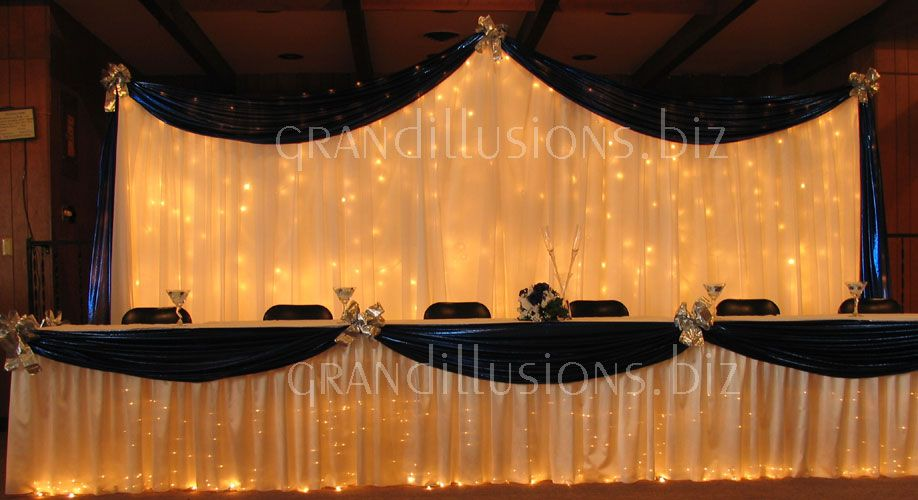 Backlit Draping In Wedding Colours With Strategically Placed Bows Or Can Be Substituted Bouquets Head Table BackdropHead DecorBackdrop